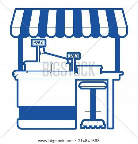 supermarket shelf with weighing machine and cash register point with sunshade in blue silhouette vector illustration