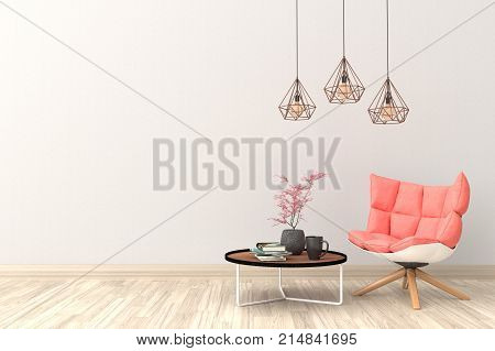 Minimal. White living room interior with rose fabric armchair, cabinet, coffee cup and plants on empty white wall background.3d rendering.