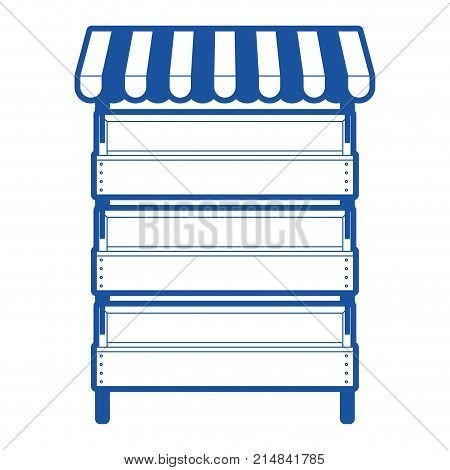 supermarket shelves with big storage with three levels and sunshade in blue silhouette vector illustration