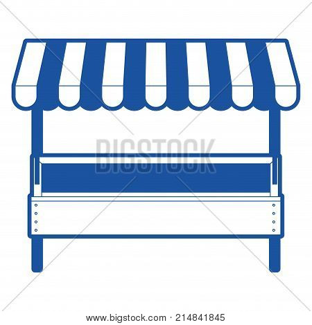 supermarket shelf with big storage of one level and sunshade in blue silhouette vector illustration