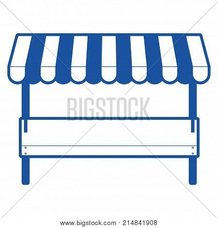 supermarket shelf of one level and sunshade in blue silhouette vector illustration