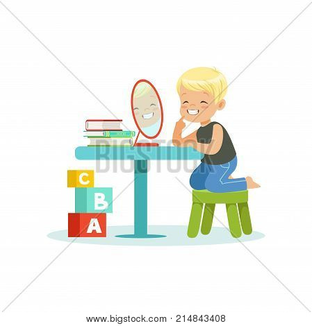 Little boy sitting at the table, looking at his reflection in mirror and doing pronunciation exercises. Language and speech therapy concept. Cartoon kid character. Isolated flat vector illustration.