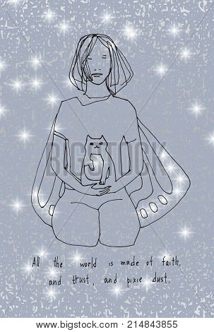 All the world is made of faith and trust and pixie dust. Lettering poster. Inspirational quote. Vector hand drawn illustration. Sketch style.