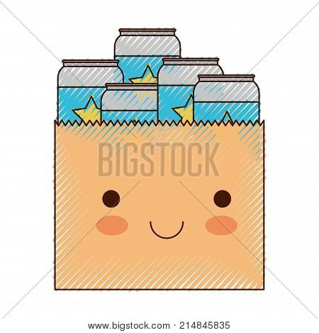 kawaii paper bag with canned beers in colored crayon silhouette vector illustration