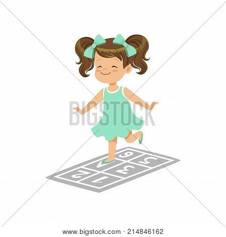 Preschool girl playing in jumping hopscotch game on playground. Happy childhood concept. Outdoor daily activity in kindergarten. Cartoon kid character in flat design. Isolated vector illustration.