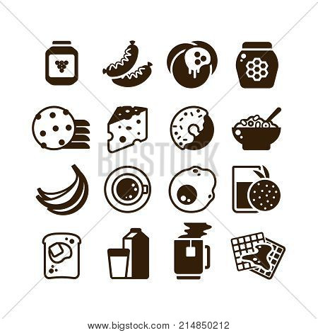 Breakfast food vector silhouette icons isolated. Illustration of breakfast food and drink