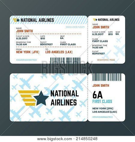 Airplane flight boarding pass ticket isolated vector template. Ticket to airplane, pass passenger document illustration