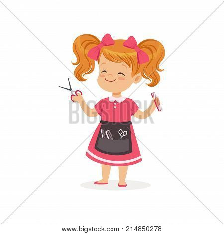 Cartoon preschool girl with apron and barber tools in hands. Hair stylist role play. Kid learn about job and profession. Career day in kindergarten. Flat child character. Isolated vector illustration.