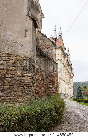Fragment of the Dominican monastery and Sighisoara City Hall. Castle of Sighisoara city in Romania