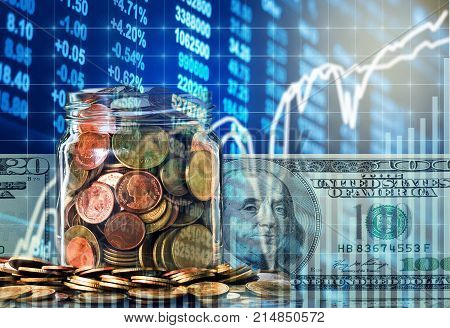 Gold coins in clear bottle and american dollars money over the LED display Stock market exchange data background Business investment and trading concept, 3D illustration