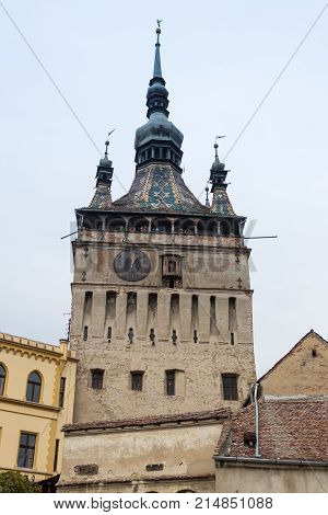 Sighisoara Romania October 08 2017 : The Clock Tower built in the 14th century this iconic clock tower served as the main gate to the city's citadel in Sighisoara city in Romania
