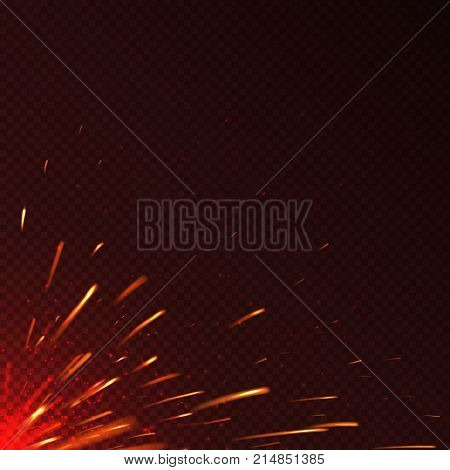 Glowing red fire sparks isolated vector background. Illustration of spark bright blazing illustration
