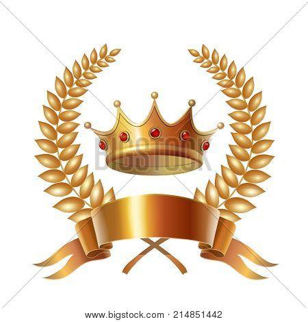 Gold vintage crown, ribbon and laurel wreath, royal emblem.