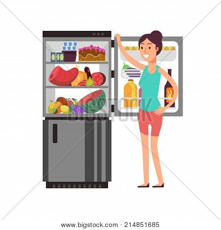 Woman thinking snacking at fridge with unhealthy food. People eating at night diet vector concept. Kitchen fridge and woman thinking illustration