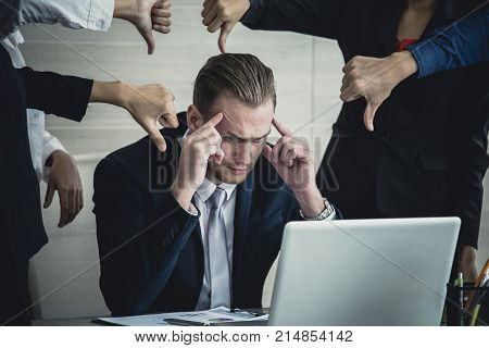Man In Stress Situation When He Missed For Business Project And Team Blame Him, Businessman Unsucces