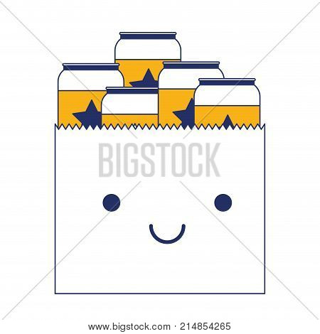 kawaii paper bag with canned beers in color sections silhouette vector illustration