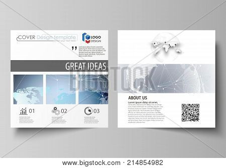 The minimalistic vector illustration of the editable layout of two square format covers design templates for brochure, flyer, booklet. Technology concept. Molecule structure, connecting background
