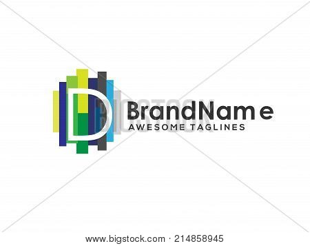 letter d logo with colorful paint stripes, Letter d logo colorful strips design template elements. Logo initial letter d Business corporate