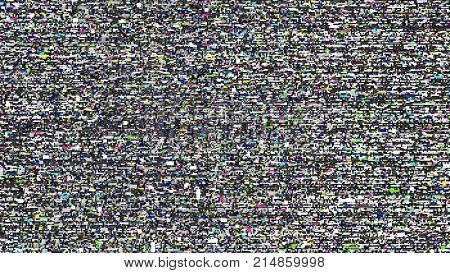 Glitch background. Computer screen error. Digital design concept. Pixel noise. HDTV no signal. Video game glitch. Television fail. Data decay. Technical problem grunge wallpaper.