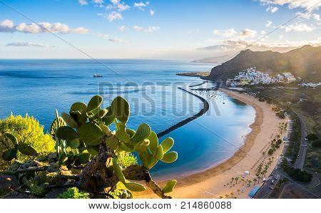 Amazing view of beach las Teresitas with yellow sand. Location: Santa Cruz de Tenerife Tenerife Canary Islands. Artistic picture. Beauty world.