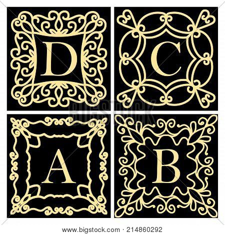 A set of templates for creating a logo a framework for invitations. Emblem or monogram. A collection of design elements for the letters A B C D. Golden icons on a black background. Vector illustration.