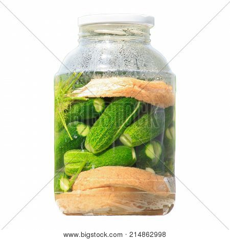Pickles jars. Jars with pickles. Pickled Vegetables. Vegetable being prepared for preserving.  on Isolated white background