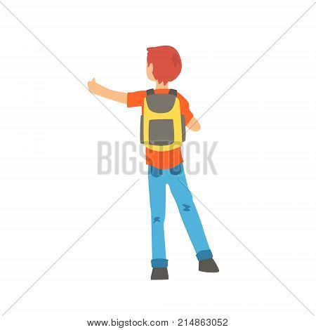 Young male hitchhiker traveling with backpack, man trying to stop a car on a highway by hand, back view, travelling by autostop cartoon vector Illustration on a white background