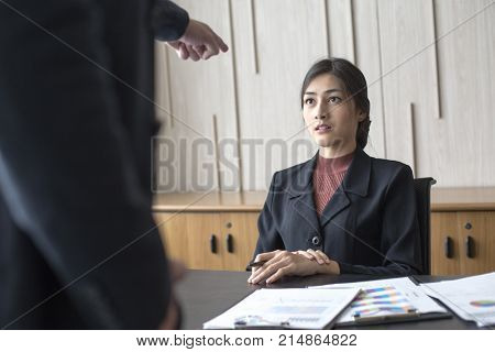 Desperate Young Asian Woman Unable To Work With Stress Situation, Suffering Stress, Boss Come To Fir