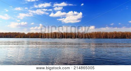 Mississippi River landscape seen from Andalusia Slough Recreation Area in Illinois