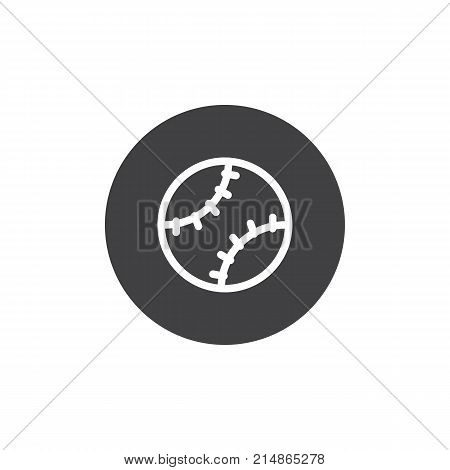 Baseball ball icon vector, filled flat sign, solid pictogram isolated on white. Softball symbol, logo illustration.