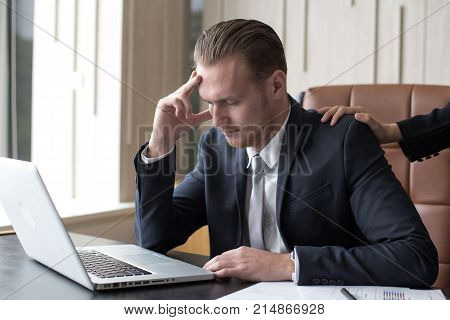 Desperate Young Asian Businessman Unable To Work With Stress Situation. Man In Stress Situation Conc