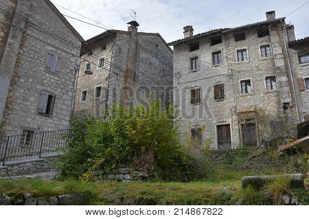The hill village of Erto in Friuli Venezia Giulia north east Italy. The village is famous locally for having being evacuated when it was heavily damaged as a result of the 1963 Vajont Dam disaster.