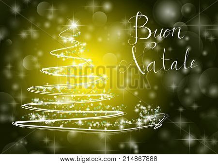 Abstract Christmas Tree On Shiny Yellow Background With The Writing