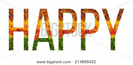happy word is written with leaves white isolated background, banner for printing