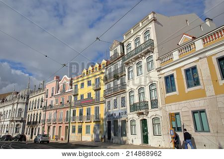 LISBON, PORTUGAL - NOVEMBER 4, 2017: Colorful facades at Principe Real square in Bairro Alto neighborhood