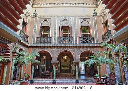 LISBON, PORTUGAL - NOVEMBER 4, 2017: The courtyard of Casa do Alentejo in Bairro Alto neighborhood