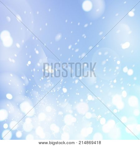 Winter sky with falling snow. Falling snow, snowflake on a blue sky. Holiday Winter background for Merry Christmas and Happy New Year. Falling snow background. Vector illustration.