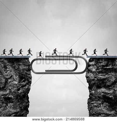 Office solution concept as people crossing a bridge created by a giant paper clip or paperclip as a business worker success metaphor.