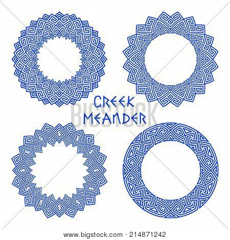 Vector set of round frames with motif of a Greek meander isolated on white background. Circles templates for decorating book text invitations. Set of traditional and modern patterns for design of plates