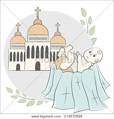 Church, Temple, Chapel With Domes And Crosses. Branches Of A Tree With Leaves. Baptism Of The Child,