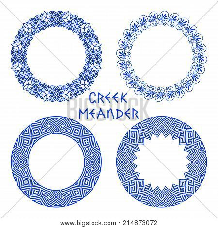 Vector set of round frames with motif of a Greek meander isolated on white background. Circles patterns with a floral native greek pattern for decorating text. A set of traditional and classic patterns for the design of plates