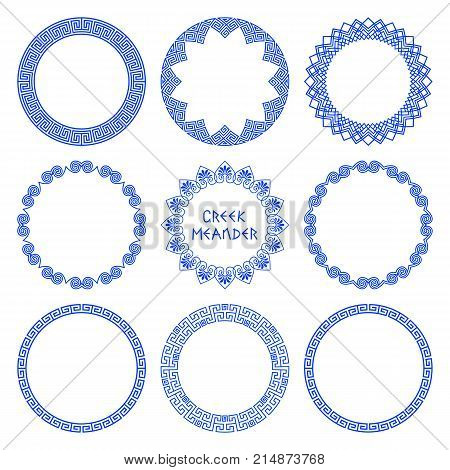 Vector set of round frames with native Greek flower and meander patterns. A collection of frames isolated on a white background for decoration and design of text plates. Modern Greek traditions for ethnic style