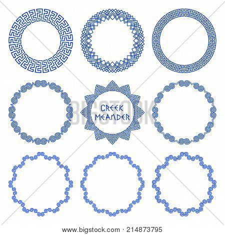 Vector set of round frames in ethnic style Greece with elements of Greek meander isolated on white background. Circle patterns for decorating and text design plates