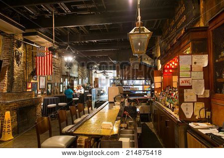 NEW ORLEANS - MAY. 31, 2017: Historic restaurant the Court of Two Sisters interior on Royal Street in French Quarter in New Orleans, Louisiana, USA.