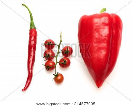 Tomato Branch With Hot Pepper. Cherry Tomatoes With Bell Pepper