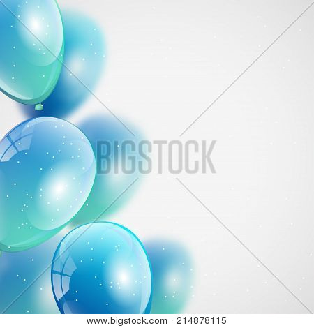 Glossy helium air balloons background. Frame from flying colorful glossy balloons for birthday cards invitations party design. (clipping mask used)