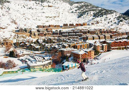 El Tarter Andorra. Aerial view of El Tarter - a village in Pyrenees Mountains Andorra and a part of Grandvalira winter resorts