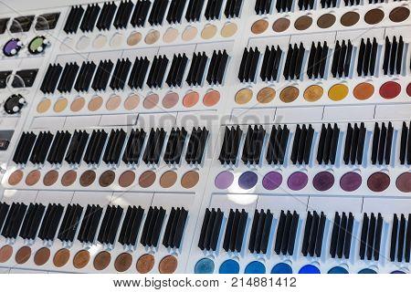 Colorful Eye Shadows Cosmetics Indoor In Perfumery