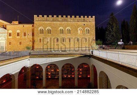 Basilica of San Miniato al Monte and columbarium at night. Florence. Italy.