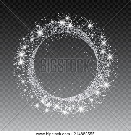 Vector silver glitter circle abstract background, silver sparkles on white background, silver glitter card design. vector illustration vip design template.
